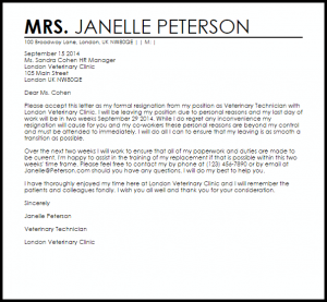 letter of resignation samples resignation letter due to personal reasons
