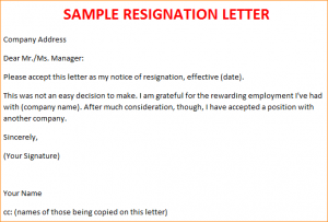 letter of resignation template free a sample resignation letter sampleresignationletter