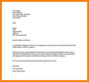 letter of resignation template free short and simple resignation letter sample