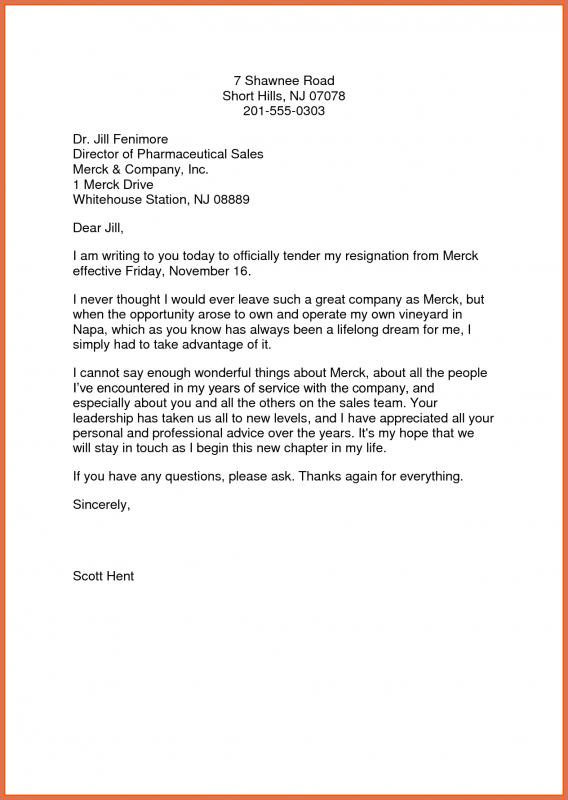 Letter Of Resignation Template  Template Business
