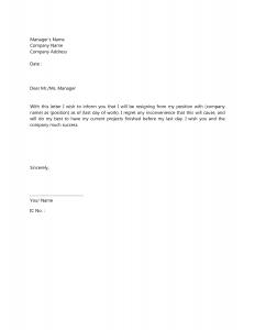 letter of resignation template resignation letter template 7
