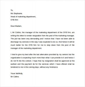 letter of resignation template word business resignation letter