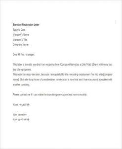 letter of resignation templates formal standard resignation letter
