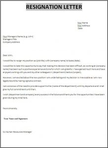 letter of resignation templates sample resignation letter