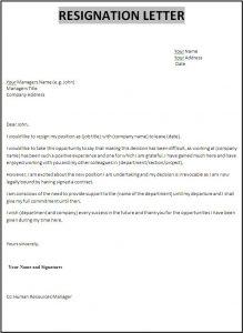 letter of resignation templates sample resignation letter