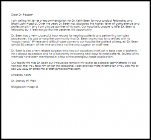 letter of support samples fellowship recommendation letter
