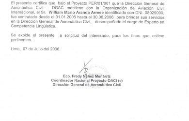 letter of support samples language proficiency expert dgac peru june