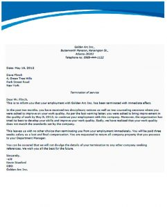 letter of termination of employment letters of termination of employment