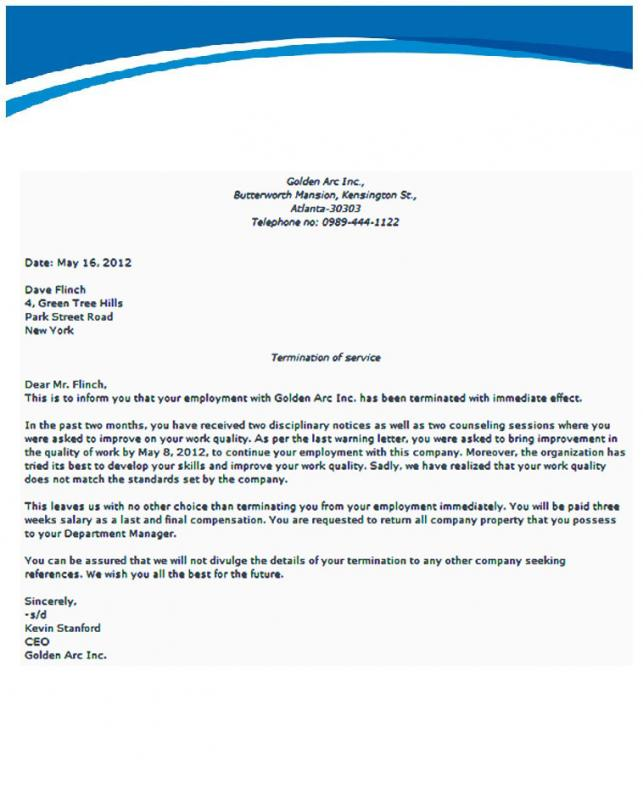 letter of termination of employment