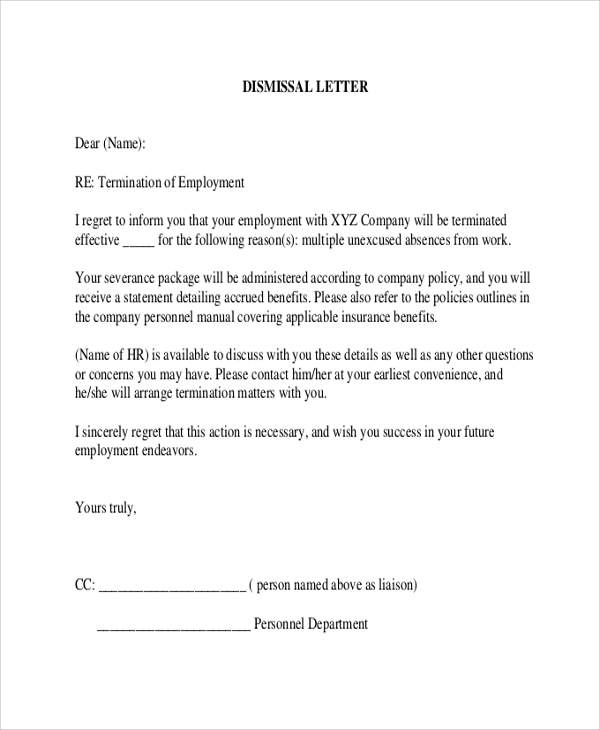 Letter Of Termination Of Employment  Company Termination Letter