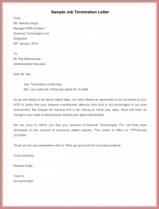 letter of termination of employment example of job termination letter