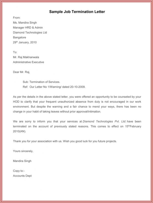 Letter Of Termination Of Employment  Example Of Termination Letter To Employee