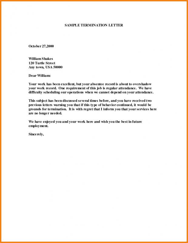 Letter Of Termination Employment