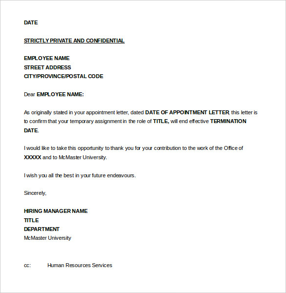 Charming Letter Of Termination Of Employment Intended Letter Of Termination Of Employment