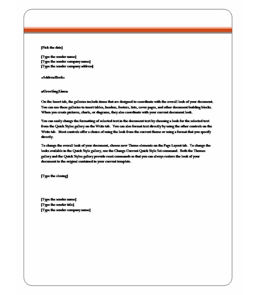 Captivating Letter Template Word Intended For Professional Letter Template Word 2010