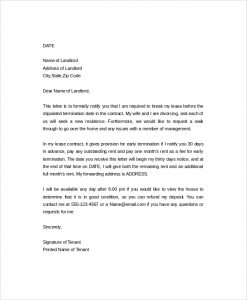 letter to break lease early lease termination letter