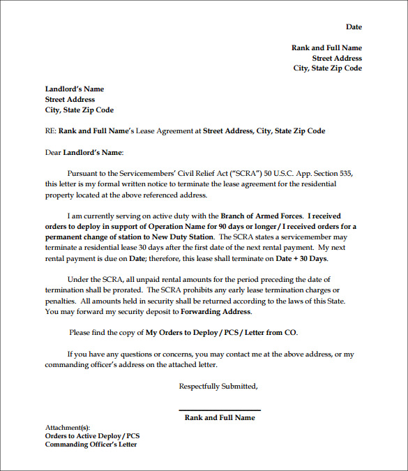 Letter To Break Lease  Sample Employee Termination Letter