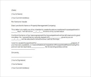 letter to break lease tenants days notice template
