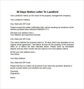 letter to land lord days notice letter to landlord example