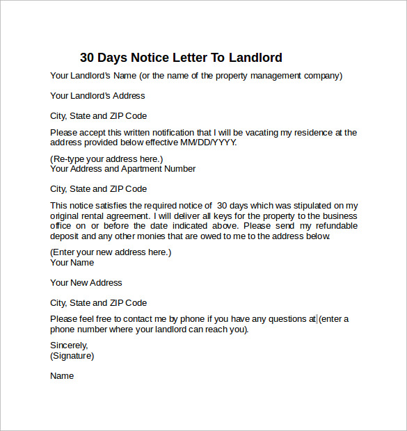 letter to land lord