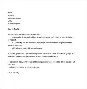letter to land lord complaint letter to landlord free download