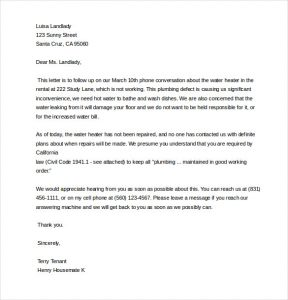 letter to land lord request for repair complaint letter to landlord