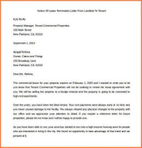 letter to landloard early termination of lease letter free notice of lease termination letter from landlord to tenant example