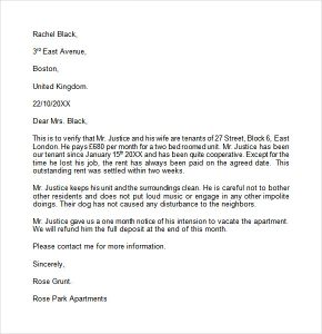 letter to landloard landlord reference letter example