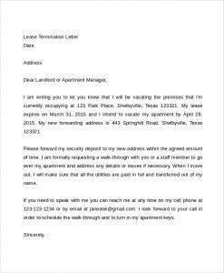 letter to landloard lease termination letter to landloard