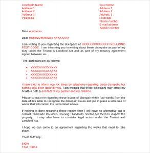 letter to landloard sample tenant complaint letter