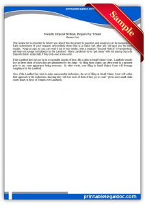letter to lanlord printable security deposit refund, request by tenant form