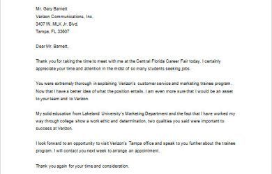 letter to recruiter thank you letter to recruiter after career fair download