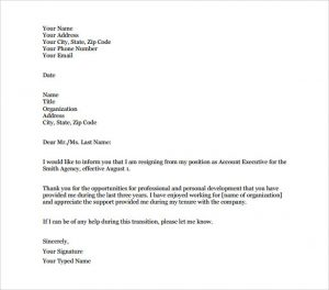 letter to vacate account executive resignation letter of notice