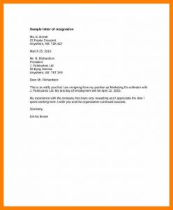 letter to vacate resignation letter days notice standard notice of resignation letter template