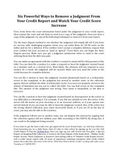 letter to vacate six powerful ways to remove a judgment from your credit report and watch your credit score increase