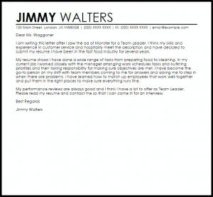letters of application example team leader