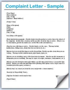letters of complaint samples letter of complaint