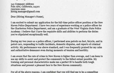 letters of intent for college police officer cover letter sample
