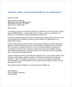 letters of recommendation examples letter of recommendation for admission