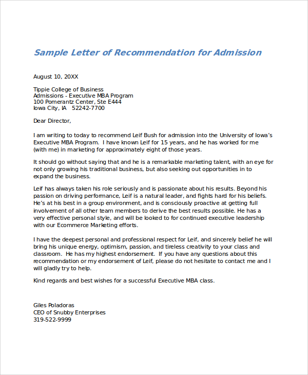 letters of recommendation examples