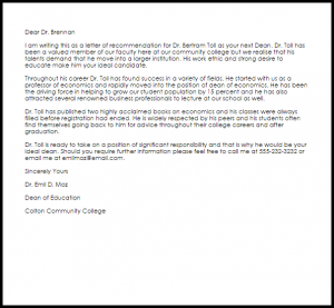 letters of recommendation for jobs dean recommendation letter