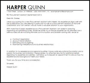 letters of recommendation for jobs procurement assistant