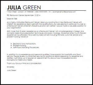 letters of recommendation for jobs restaurant server