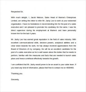 letters of recommendation for jobs work reference letter template