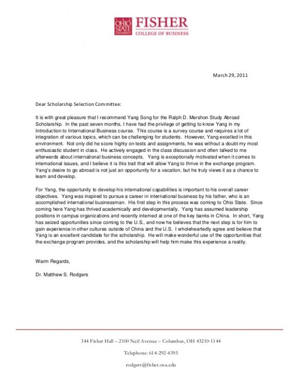 scholarship recommendation letter letters of recommendation for scholarships template business 11317