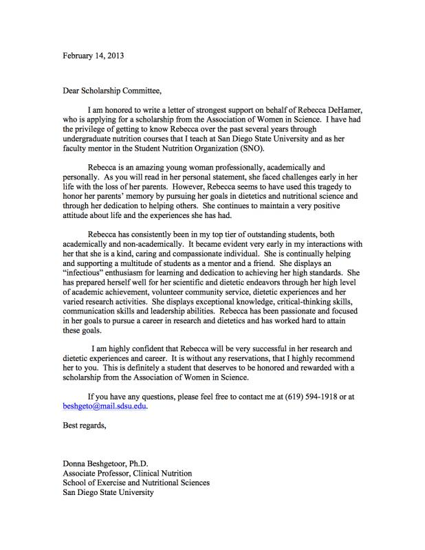 letters of recommendation for scholarships