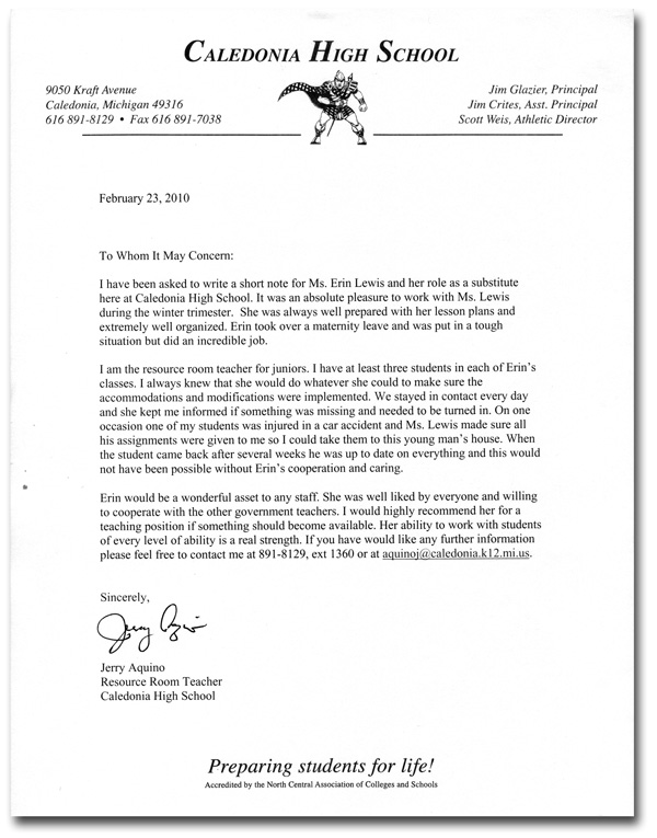 letters of recommendation for students
