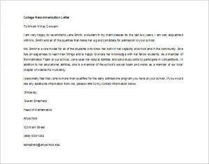 letters of recommendation for students editable letter of recommendation for college student in word