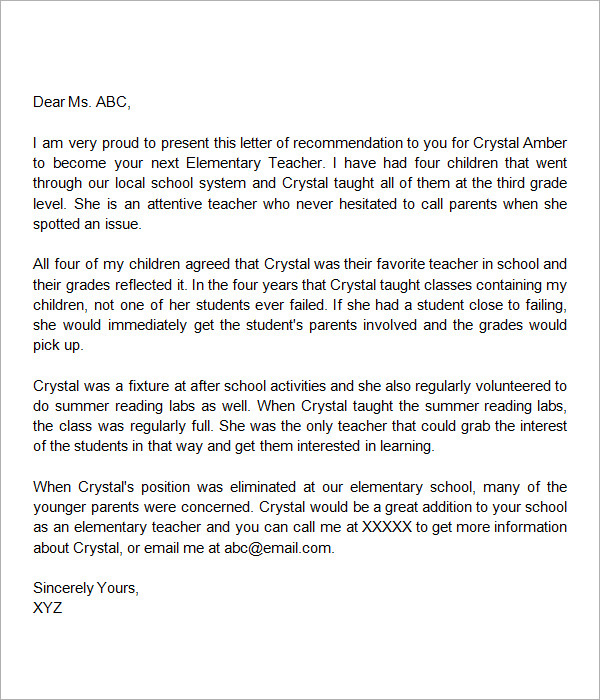 letters of recommendation for teachers