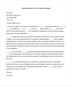 letters of recommendation for teachers from colleague